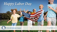 kids running with American flag with text Happy Labor Day
