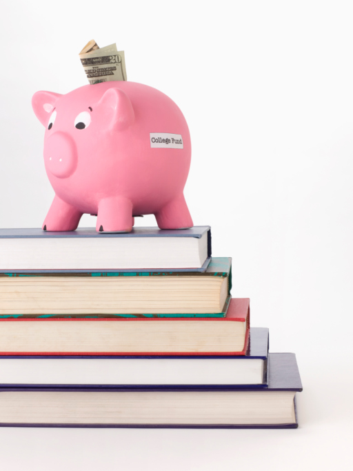 Piggy Bank, Money and Stack of Books