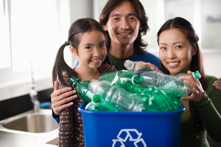 Family Living Green By Recycling