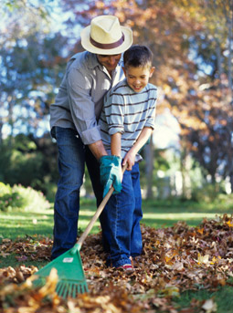 Green Living: Father and Son Raking Fall Leaves