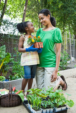 Green Activities: Mother Gardening with Daughter