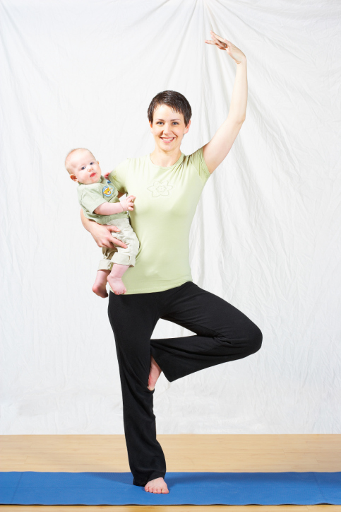 Working Mom Doing Yoga While Watching Child
