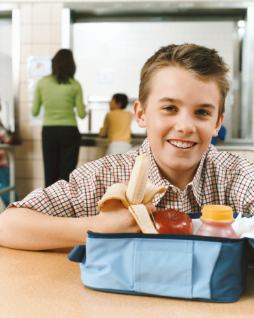 Young Boy Eating Healthy School Lunch