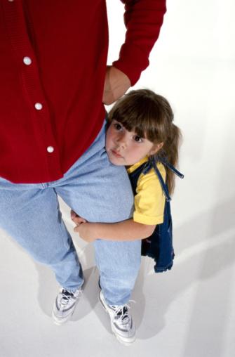 Child Hiding Behind Parent's Leg