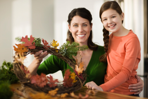 Parent and Child Making Fall Wreath