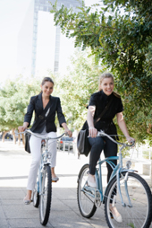 Coworkers Riding Bikes To Work