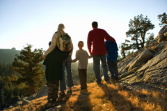 Family Hiking Outside