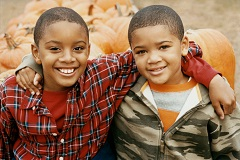 Brothers at pumpkin patch