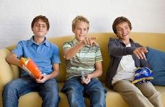 Teenage Boys Eating Junk Food