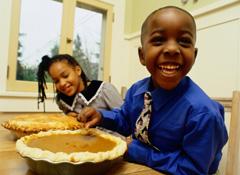 Children Ready to Eat Pumpkin Pie