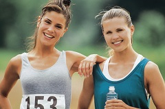 Two women at outdoor foot race