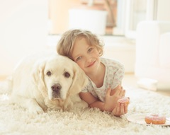 Young Girl & Family Pet