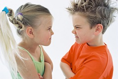 Children Staring at Each Other Aggressively