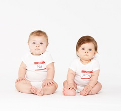 Babies wearing nametags