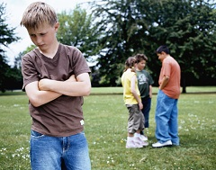 Child bullied by a group