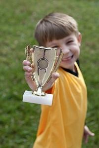 Boy with trophy