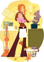 cartoon mom multi-tasking