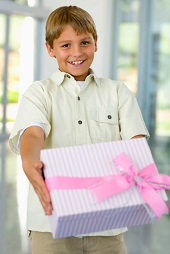 Boy giving gift