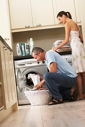 couple doing laundry together