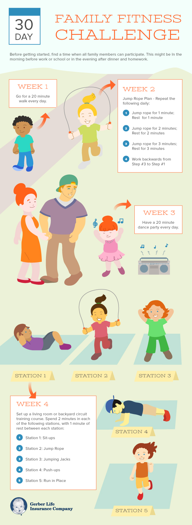 Family fitness challenge infographic