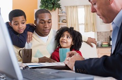 family talks with life insurance agent