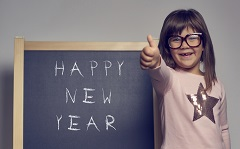 Girl wishing Happy New Year