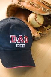 Dad's baseball cap and glove
