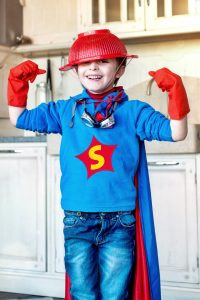 Halloween Costumes - boy in DIY superhero costume