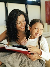 Mom & Daughter Reading Book Together