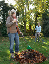 Couple Raking Fall Leaves