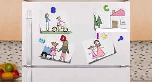 refrigerator with child-like drawings