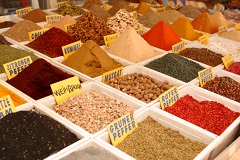 spices at an open market